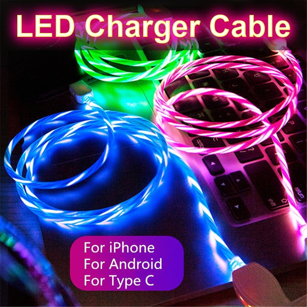 LED Luminous USB Type C Charging Cable For phone