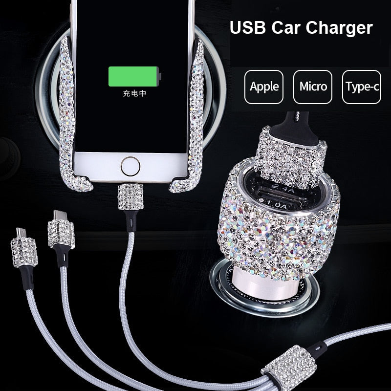 Dual USB Car Charger For Mobile Phone Tablet GPS Fast Charger Crystal Diamond Phone 3 Data Line