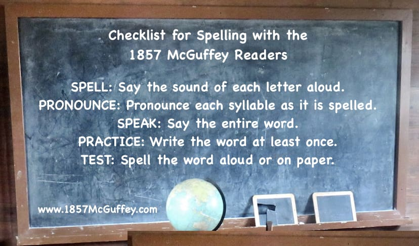Teach spelling using the 1857 McGuffey Readers, with a bit of advice from Charlotte Mason