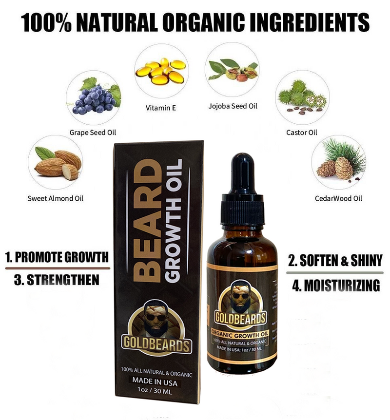 All Natural Unscented Organic Beard Growth Oil Mustache Hair growth. - GOLD BEARDS