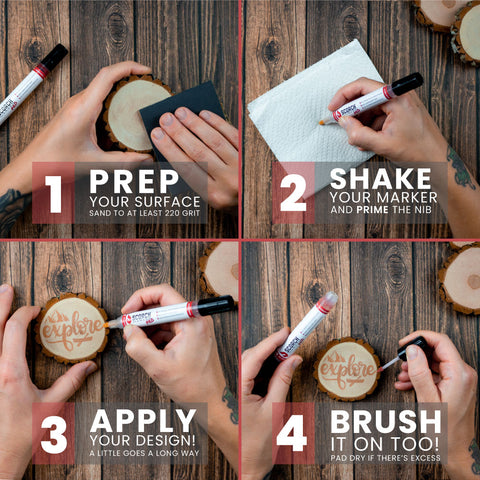 4 square image showing steps 1-4 of how to use the scorch marker. prep then shake then apply then brush