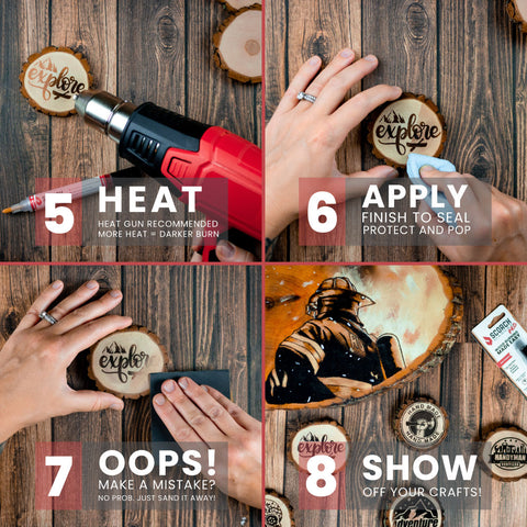 how to use scorch marker 4 panel image of steps 5 - 8 heat then apply then oops then show off!