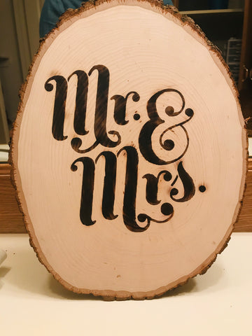 "Wooden Sign saying ""Mr. & Mrs."""