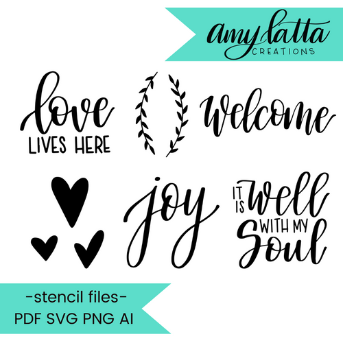Amy Latta Stencil Cut Files! 2021 [AI SVG PNG DXF]