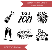 Load image into Gallery viewer, New Years Stencil Cut Files! 2021 [AI SVG PNG DXF]