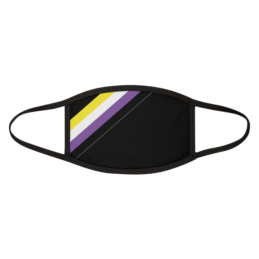 Black Fabric Face Mask with Non-Binary Pride Stripes
