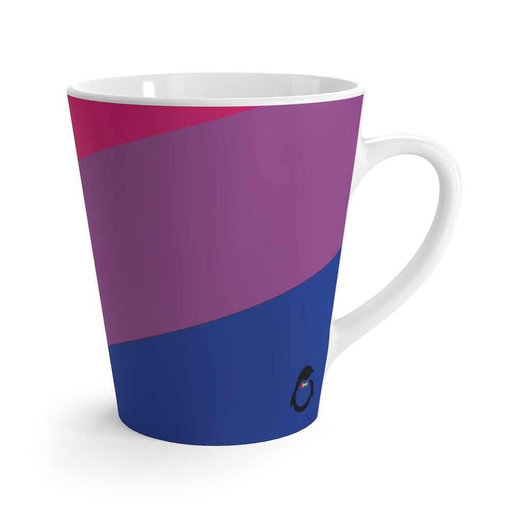 Bi-Sexual Pride Flag Coffee Mug side view with penguin logo