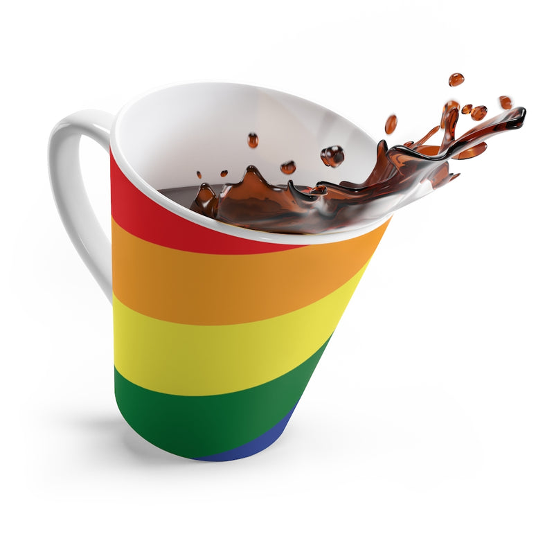 LGBTQ+ Rainbow Pride Flag Coffee Mug Splashing Coffee Out