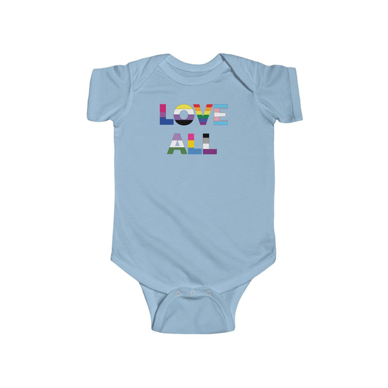Light Blue Infant Bodysuit with LOVE ALL in Rainbow Block Letters