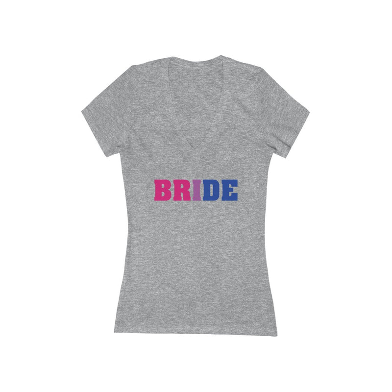 Athletic Heather Grey V-Neck Tshirt with BRIDE in Bi-sexual Pride Colored Block Letters