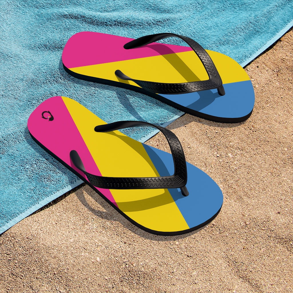 Pan-sexual Pride Flip-Flops - Black Straps - Pink Yellow Blue Soles - On Beach Towel and Sand