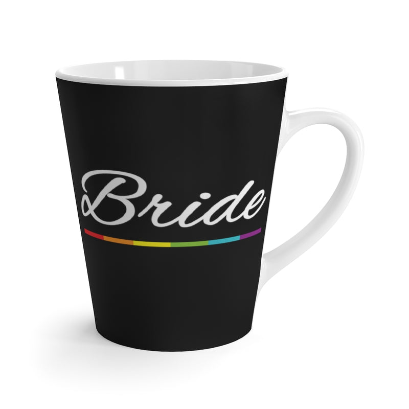 Black Mug with Bride in White Cursive and LGBT Rainbow Pride Underline - White Interior and Handle - Front View