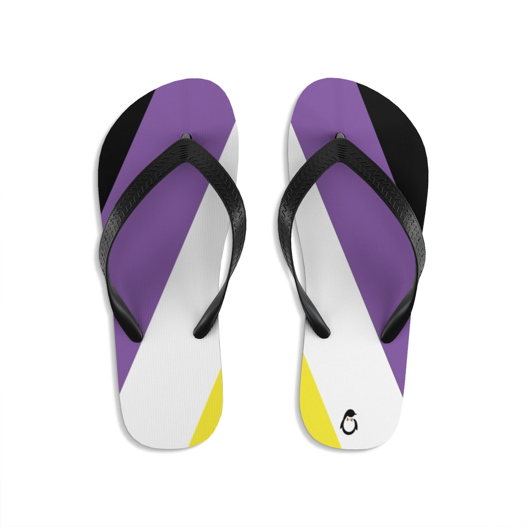 Non-Binary Pride Flip-Flops - Black Straps - Yellow White Purple Black Soles