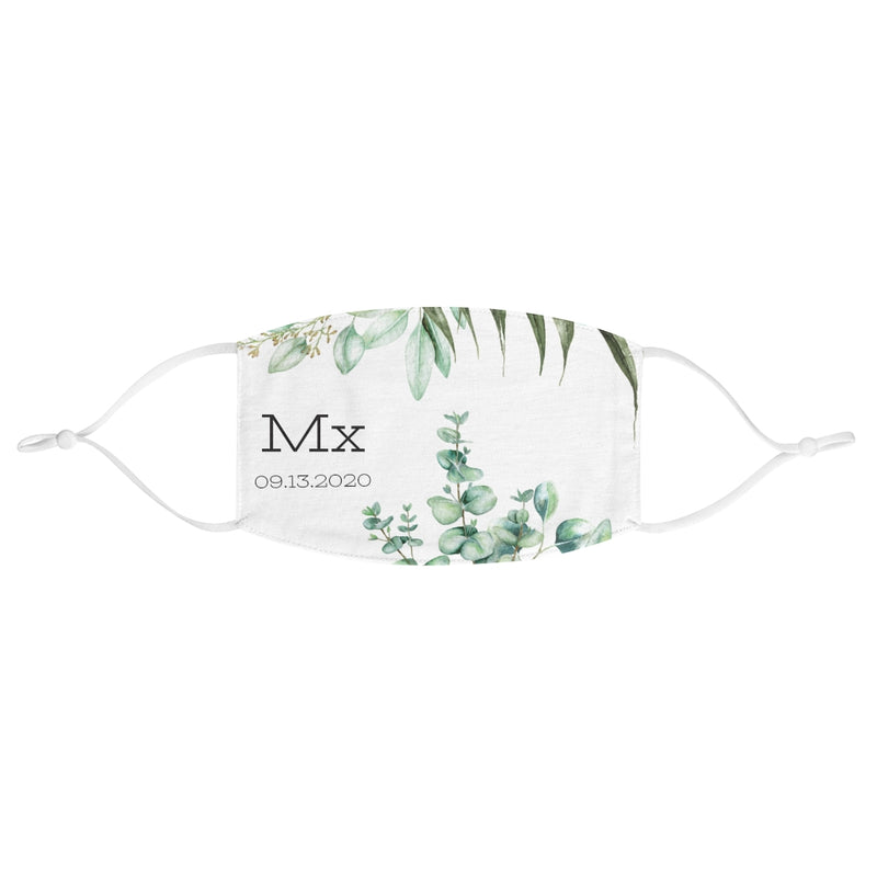 White Fabric Face Mask with Mx in Black Lettering - Adjustable Ear Loops - Eucalyptus Print - Customizable Date