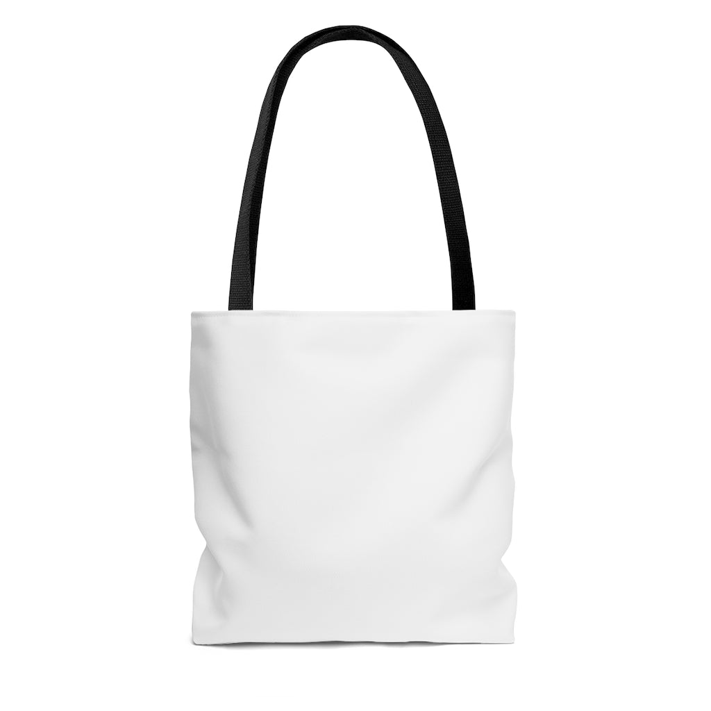 White Tote Bag with Black Straps - Dash of Pride Penguin Logo - Back Side No Design