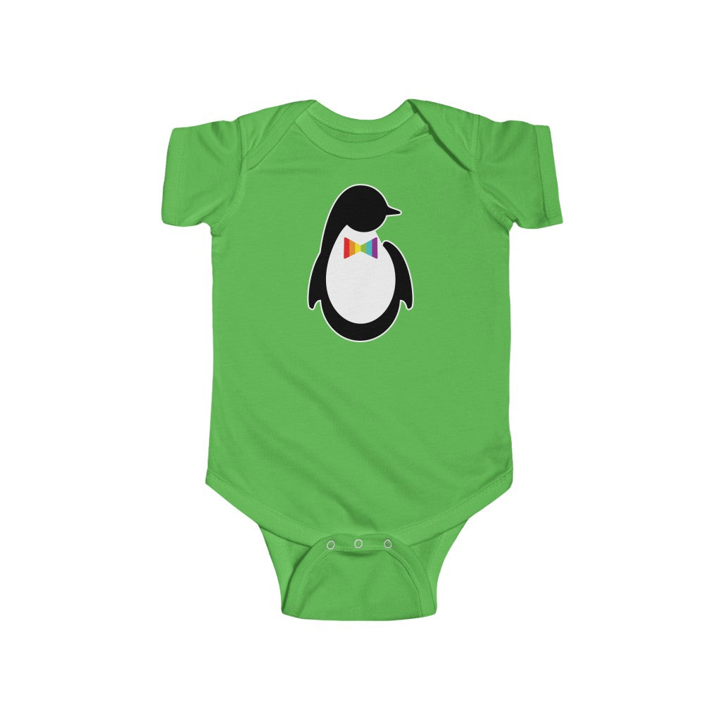 Apple Green Infant Bodysuit with Dash of Pride Penguin Logo