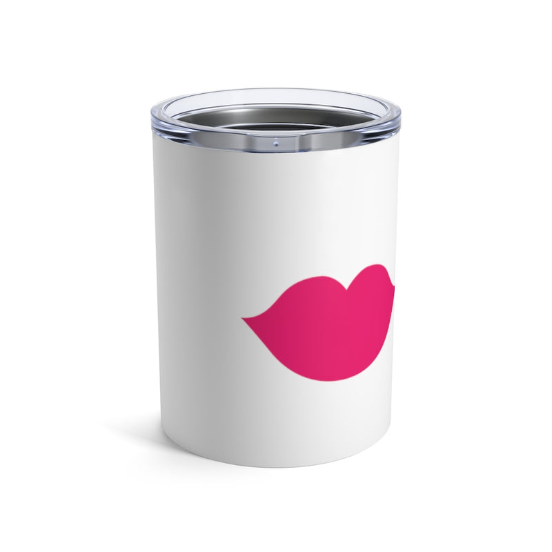 Stainless Steel White Tumbler with a Pink Lips - Front View with Lid On