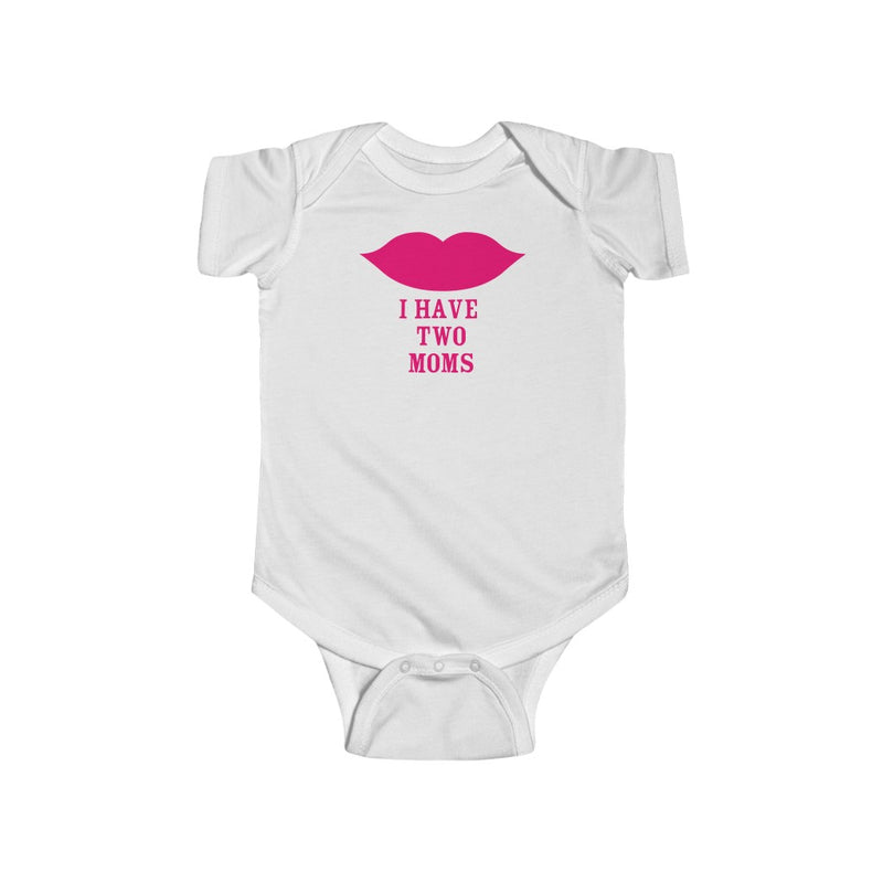 White Infant Bodysuit with Cartoon Lips - I Have Two Moms in Pink Lettering
