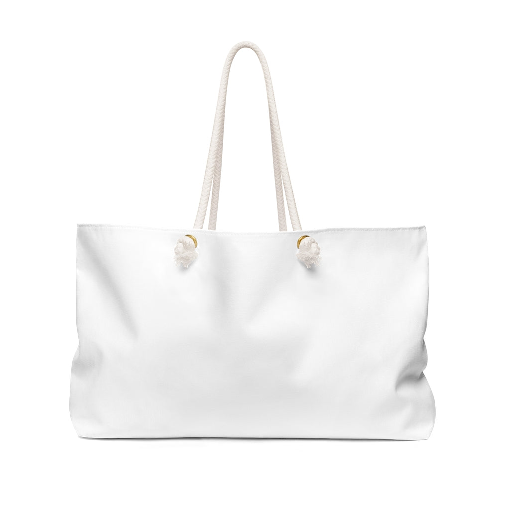 White Weekender Bag with Rope Straps - Dash of Pride Penguin Logo - Back Side No Design