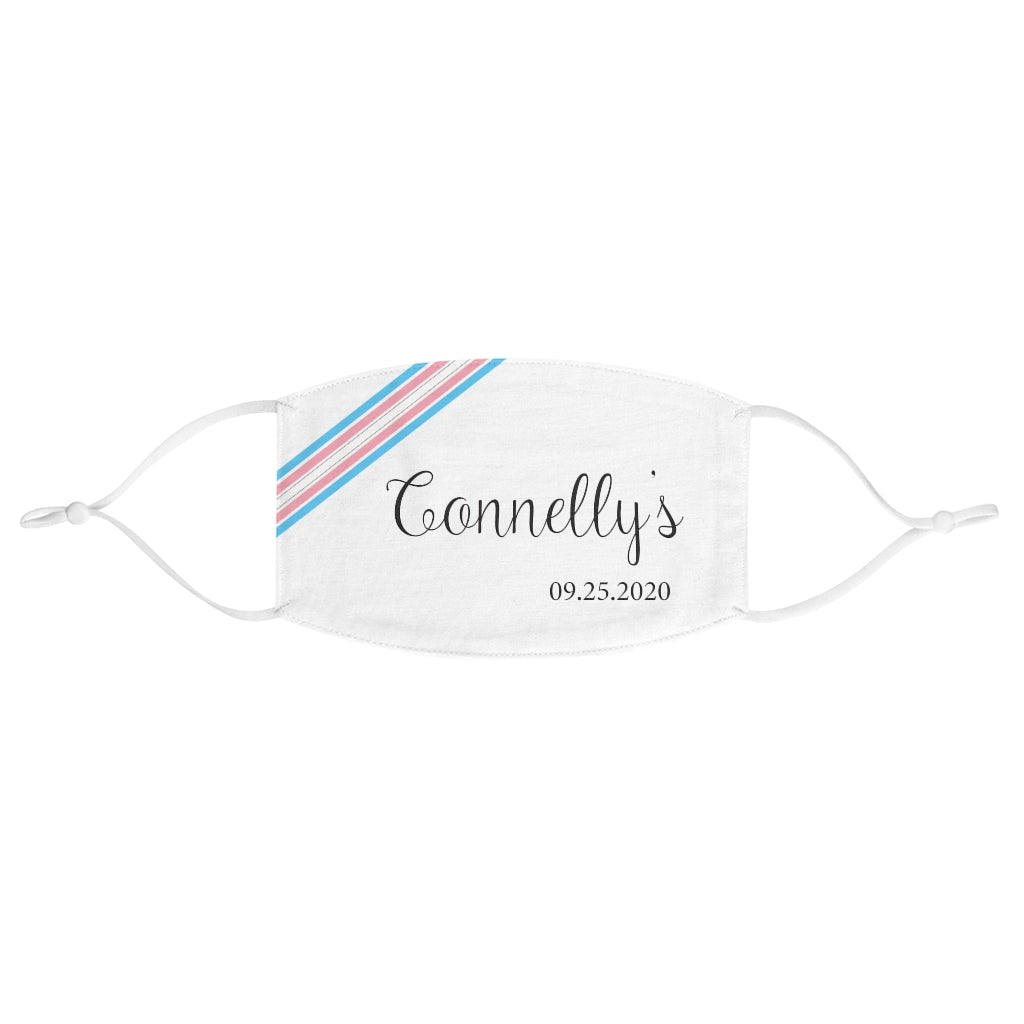 White Fabric Face Mask - Adjustable Ear Loops - Diagonal Transgender Pride Stripes - Customizable with Last Name and Date