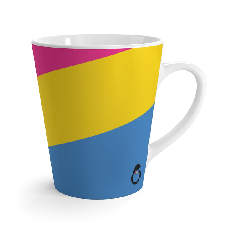 Pan-Sexual Pride Flag Coffee Mug Side View with Dash of Pride Penguin Logo