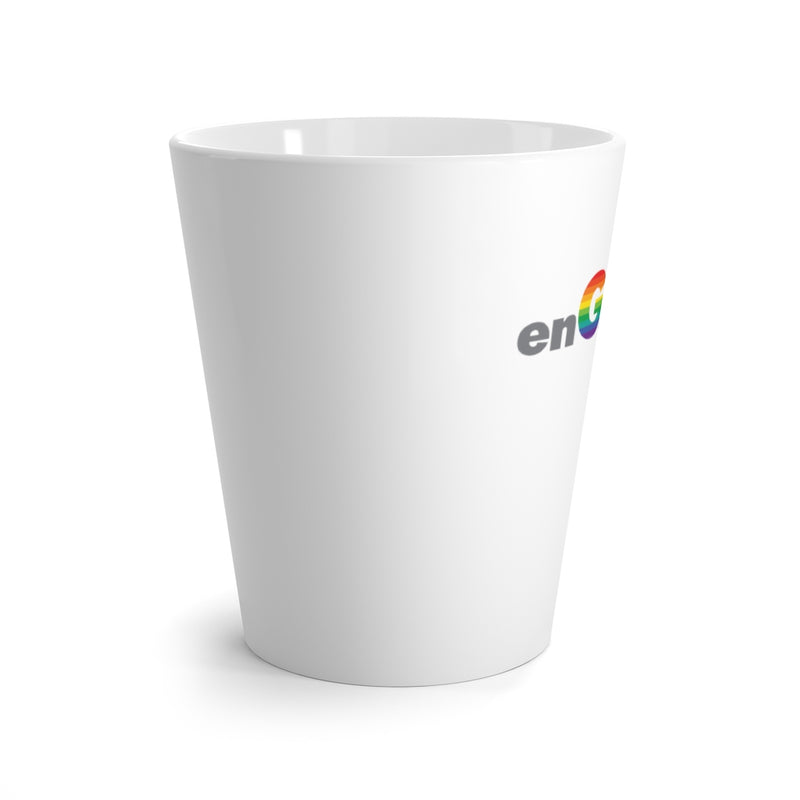 White Mug - enGAYged in Gray and Rainbow Block Letters - Side View