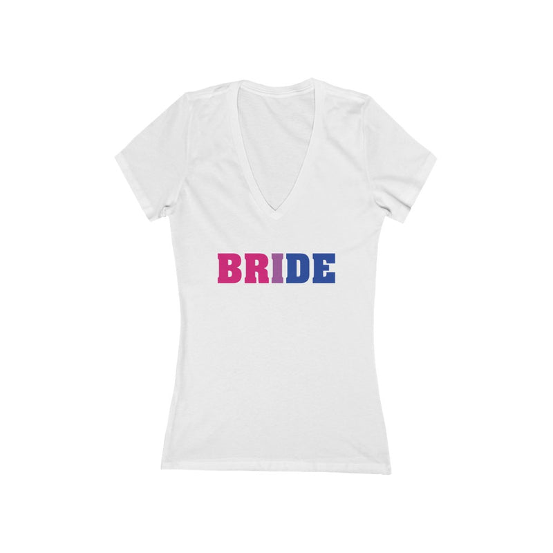 White V-Neck Tshirt with BRIDE in Bi-sexual Pride Colored Block Letters
