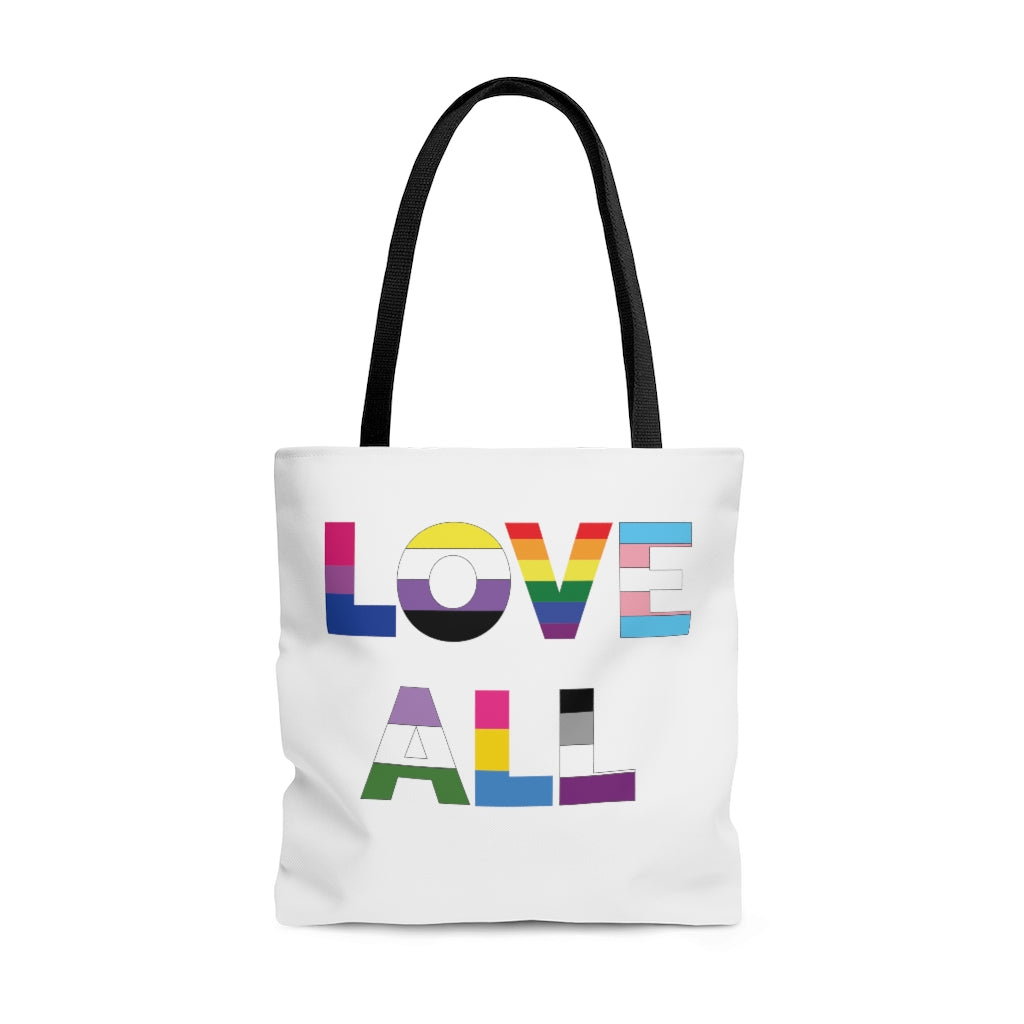 White Tote with Love All in LGBTQ+ Rainbow Block Letters - Black Handles - Front View