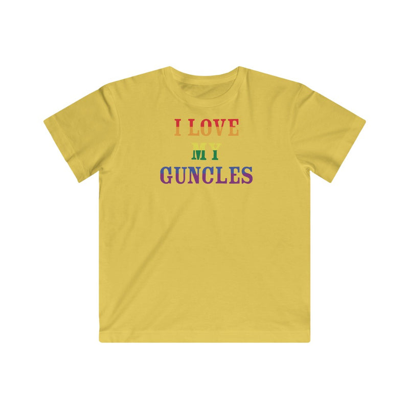 Kids Butter Yellow Crewneck Tshirt with I LOVE MY GUNCLES in Rainbow Text