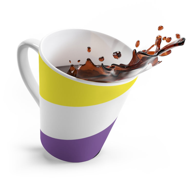 Non-Binary Pride Flag Coffee Mug splashing coffee out