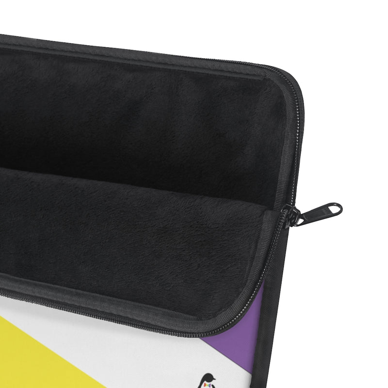 Non-Binary Pride Striped Laptop Sleeve - Close Up on Unzipped Soft Black Inside
