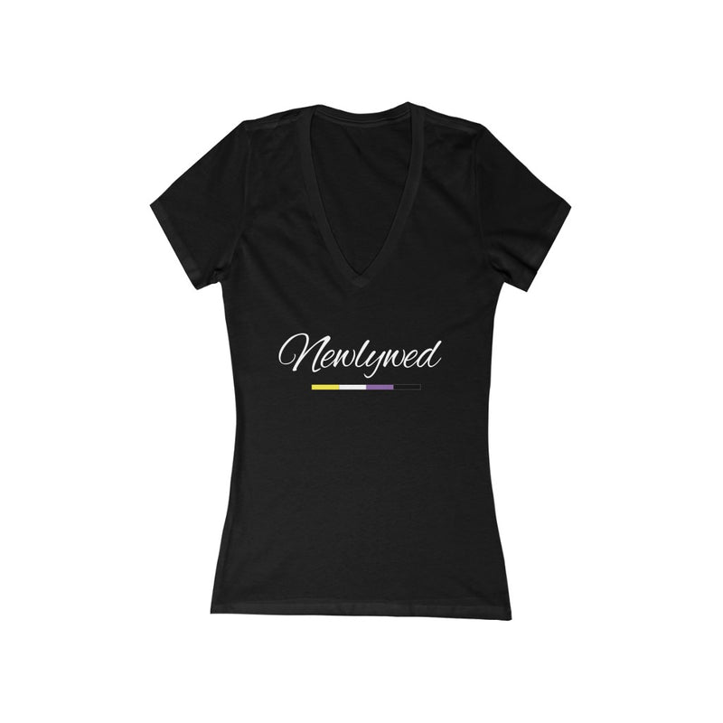 Black V-Neck Tshirt with Newlywed in White Cursive - Non-Binary Pride Underline