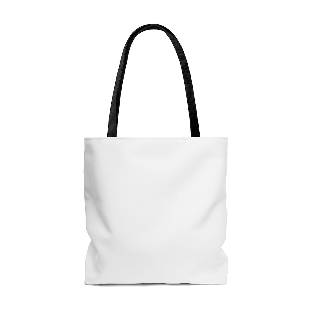 White Tote with Love All in LGBTQ+ Rainbow Block Letters - Black Handles - Black View