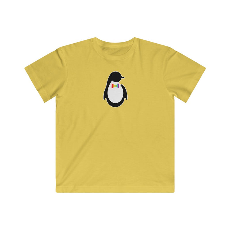 Kids Butter Yellow Crewneck Tshirt with Dash of Pride Penguin Logo