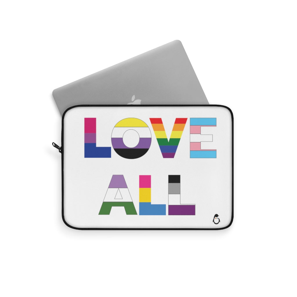 Laptop Sleeve with Love All in LGBTQ+ Rainbow Block Letters - Computer Peeking Out of Sleeve