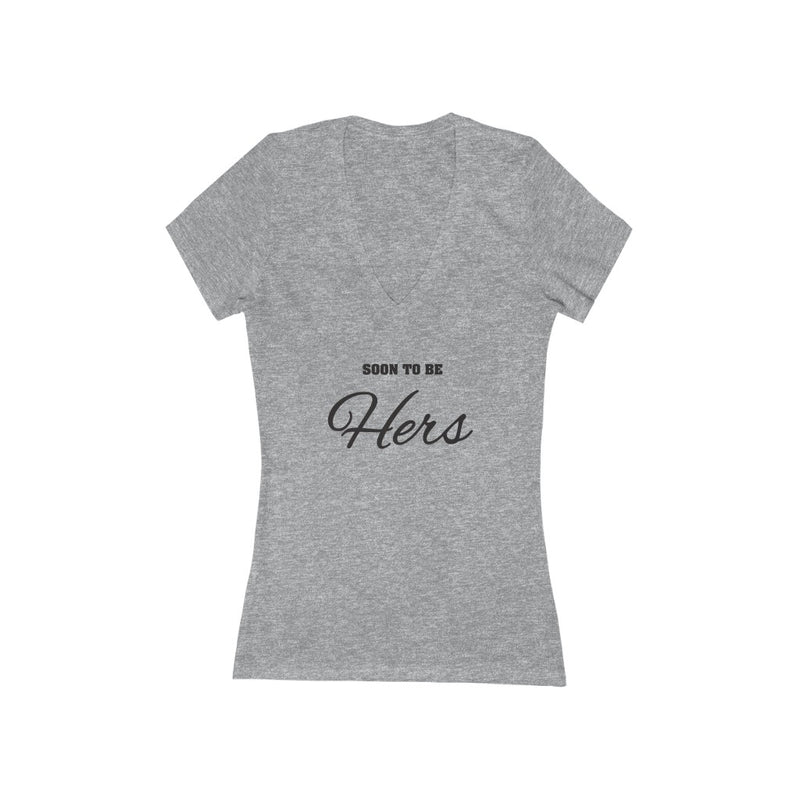 Athletic Heather Grey Fitted V-Neck Tshirt with Soon To Be Hers in Black Lettering