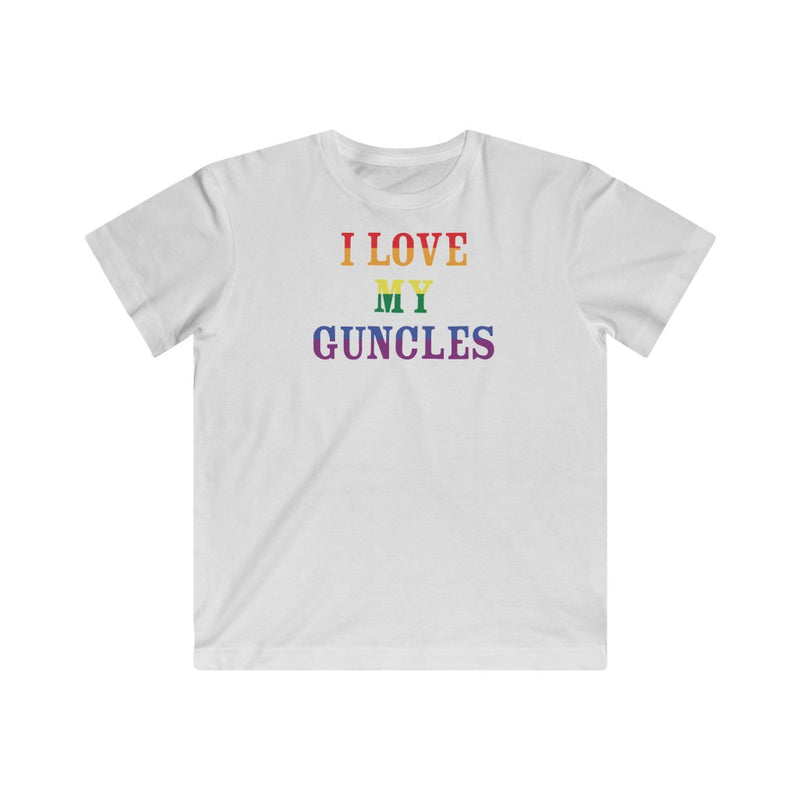 Kids White Crewneck Tshirt with I LOVE MY GUNCLES in Rainbow Text