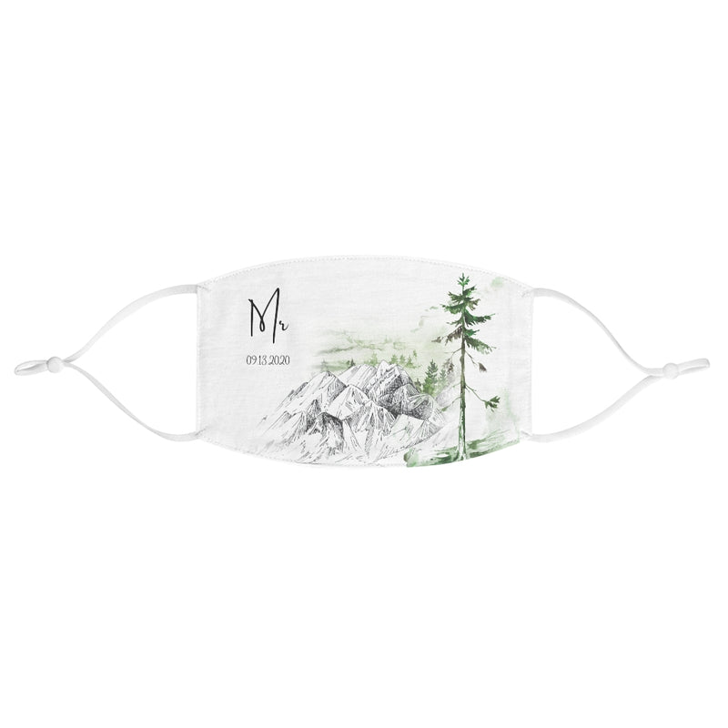 White Fabric Face Mask with Mountains and Trees - Mr in Cursive - Customizable Date