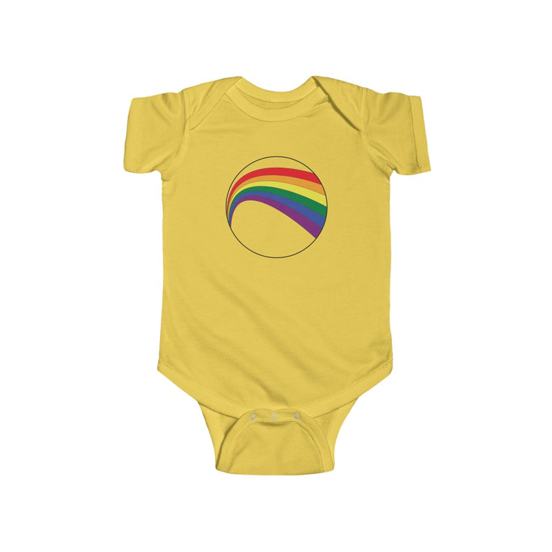 Butter Yellow Infant Bodysuit with LGBT Rainbow Arc