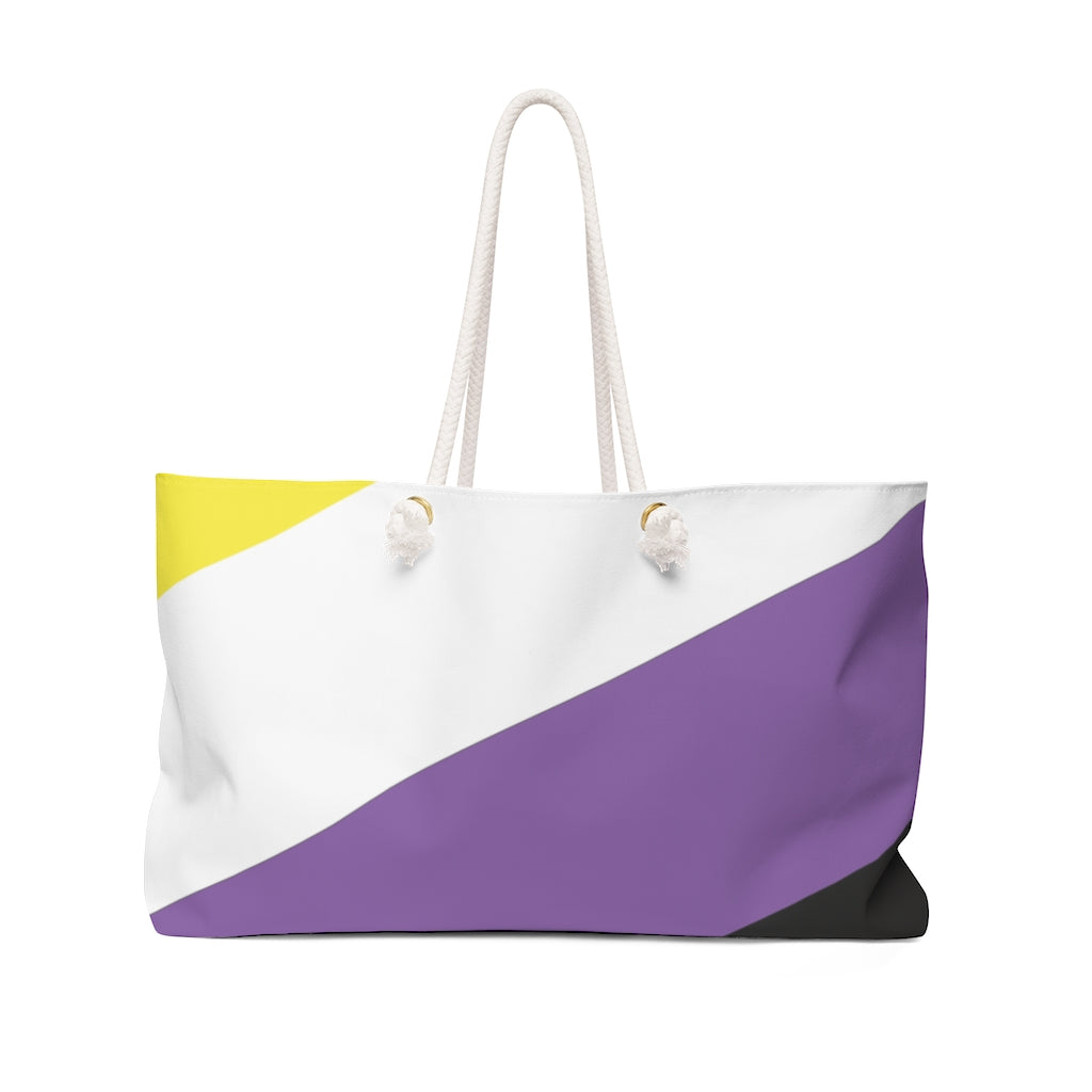 Non-Binary Large Striped Pride Flag Weekend Bag with Rope Handles