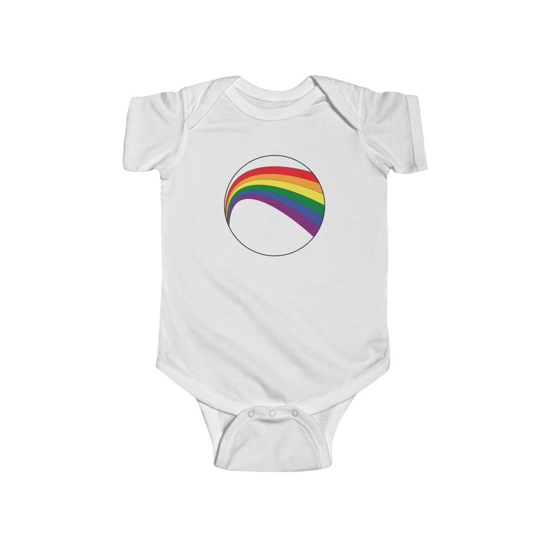 White Infant Bodysuit with LGBT Rainbow Arc