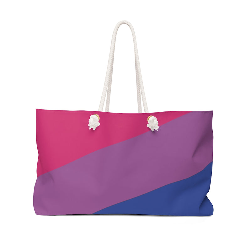 Bi-Sexual Large Striped Pride Flag Weekend Bag with Rope Handles