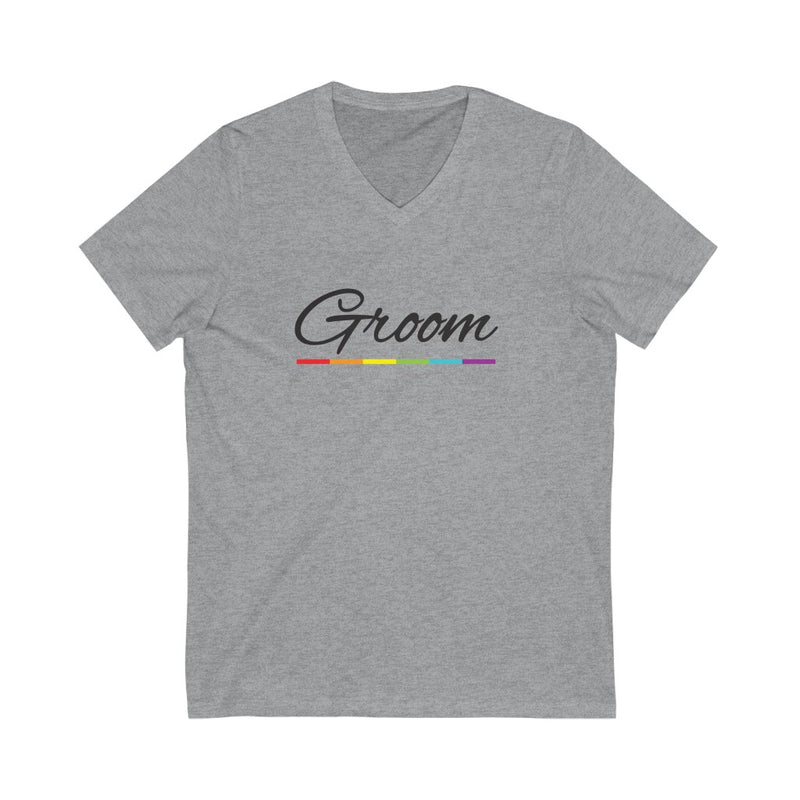 Wedding Day Athletic Heather Grey V-Neck Tshirt with Groom in Black Cursive - LGBTQ+ Rainbow Underline