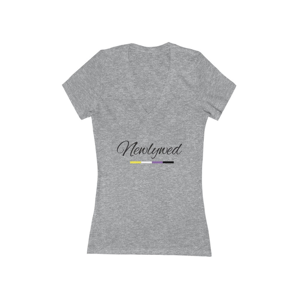 Athletic Heather Grey V-Neck Tshirt with Newlywed in Black Cursive - Non-Binary Pride Underline
