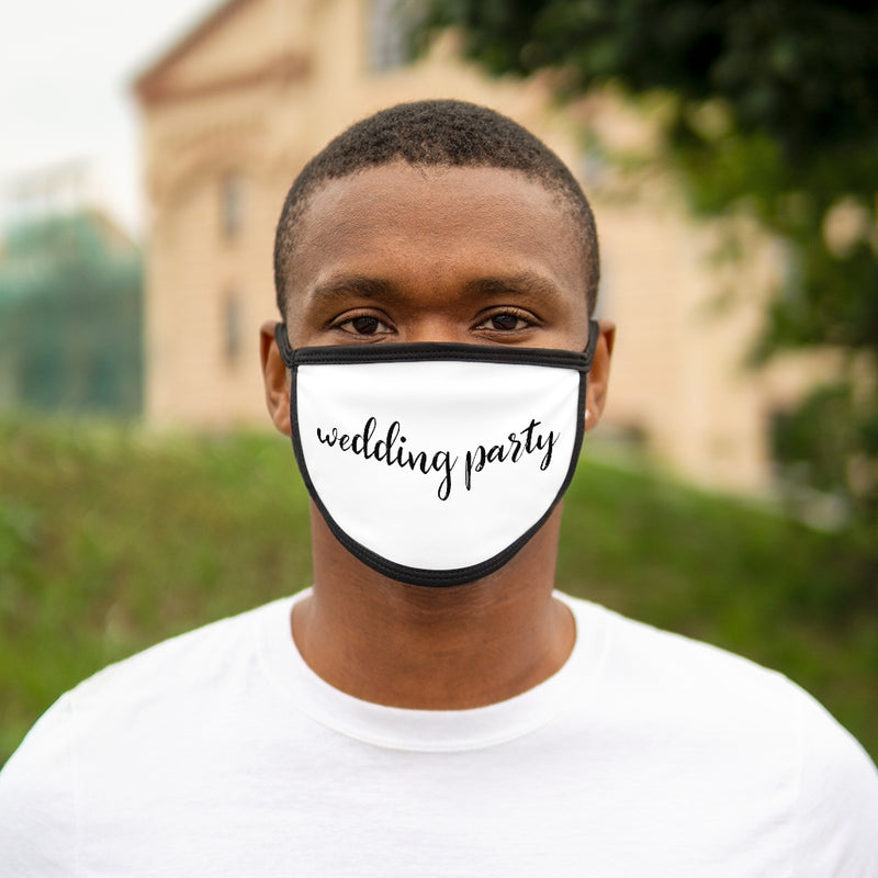 White Fabric Face Mask with Wedding Party in Black Cursive - Black Edges and Ear Loops - On Male Model