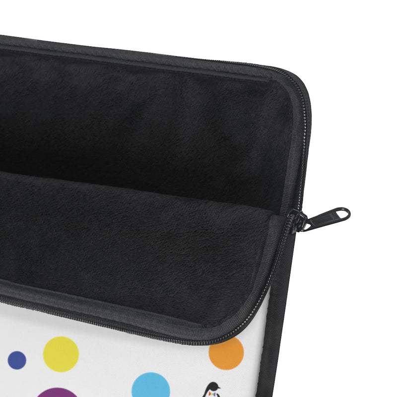 White Laptop Sleeve with LGBT Pride Rainbow Dots and Black Edges - Close Up on Soft Black Interior