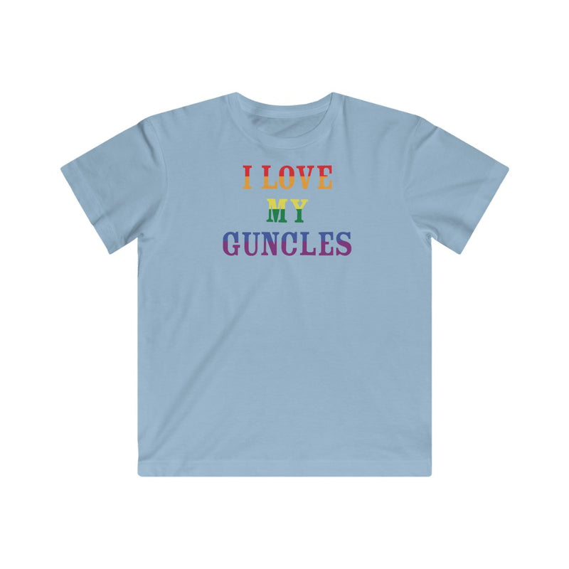 Kids Light Blue Crewneck Tshirt with I LOVE MY GUNCLES in Rainbow Text
