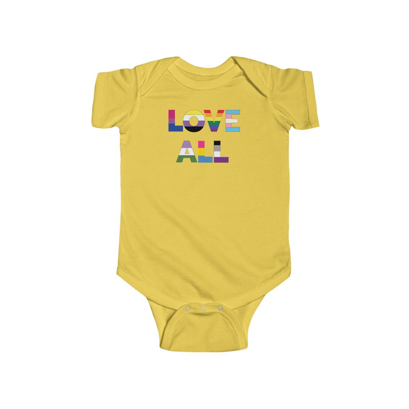 Butter Yellow Infant Bodysuit with LOVE ALL in Rainbow Block Letters