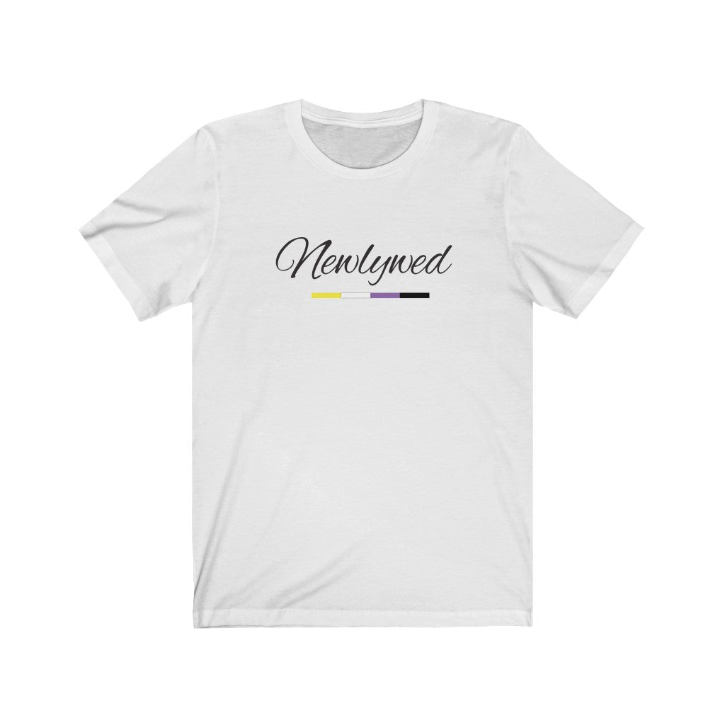 White Crewneck Tshirt with Newlywed in Black Cursive - Non-Binary Pride Underline