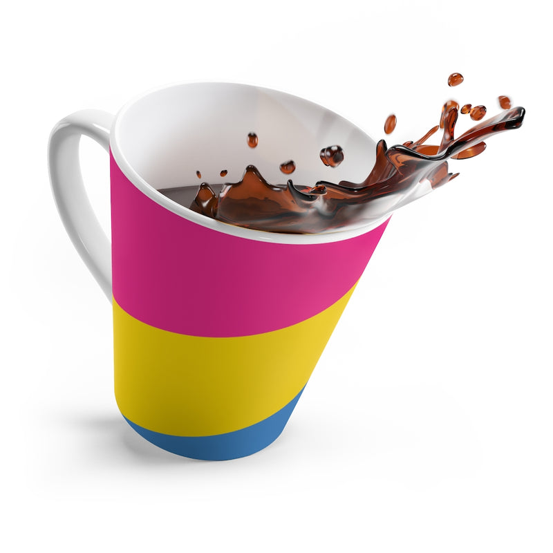 Pan-Sexual Pride Flag Coffee Mug Splashing Coffee Out
